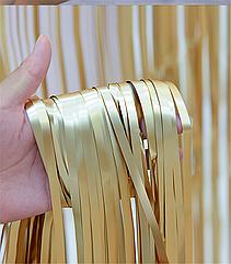 Шторка-завіса з мішури золото матове 100 х 200 см
