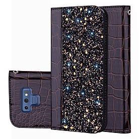 Чехол книжка для Samsung Galaxy Note 9 N960 боковой с отсеком для визиток, Крокодиловая кожа, черный