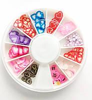 Фимо фигурки для декора ногтей в карусельке сердечки