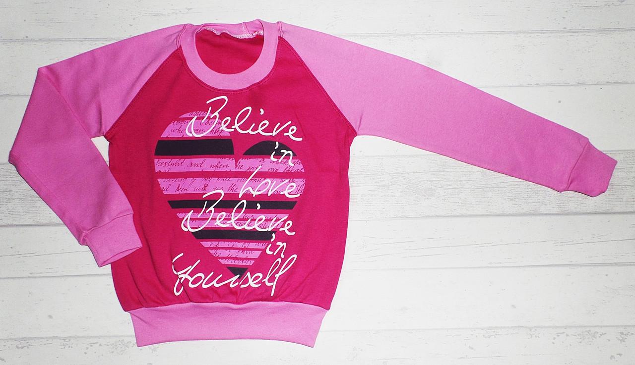 """Детский реглан """"Believe in love"""" для девочек 8,9,10,11,12 лет 100% хлопок"""