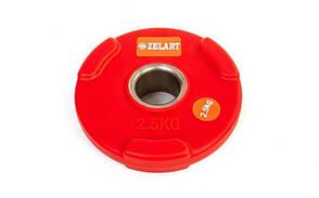 Блины (диски) полиуретановые с хватом и металлической втулкой d-50мм TA-5336(50)- 2,5 2,5кг(красный)