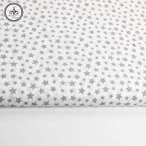 """Польская хлопковая ткань """"звездопад мелкий серый на белом"""", фото 2"""