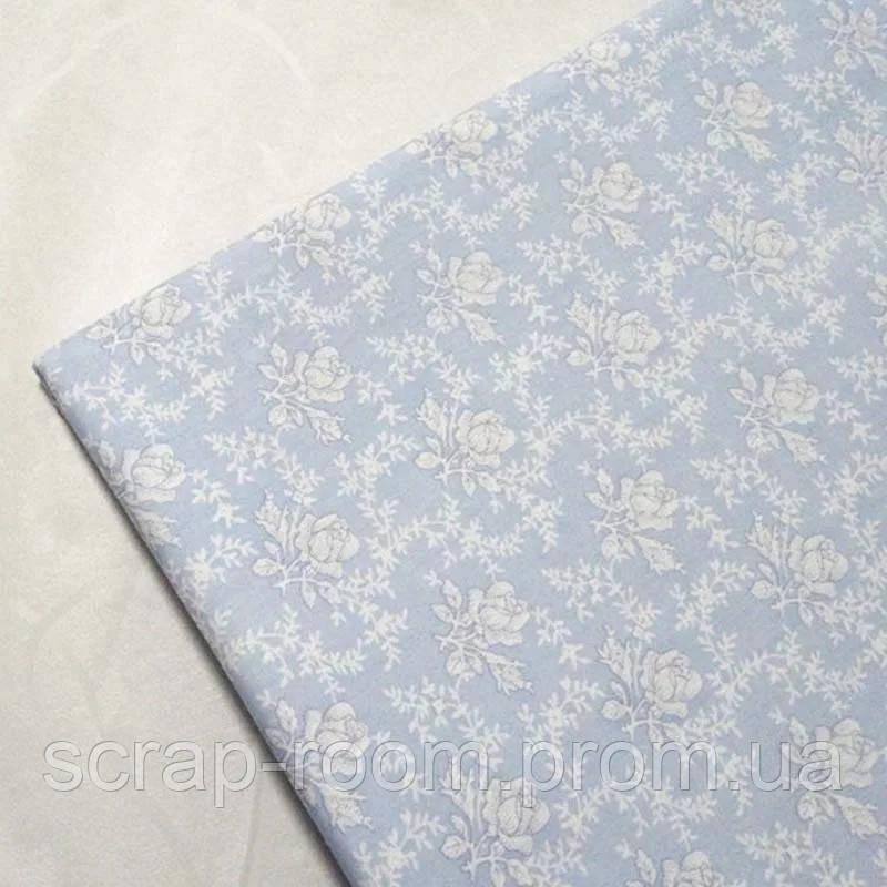 Ткань хлопок 100% отрез 40 на 50 см голубая с белыми цветами Корея