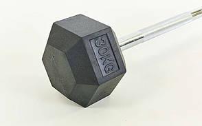 Штанга фиксированная прямая обрезиненная Rubber Hexagon Barbell 30кг TA-6230-30