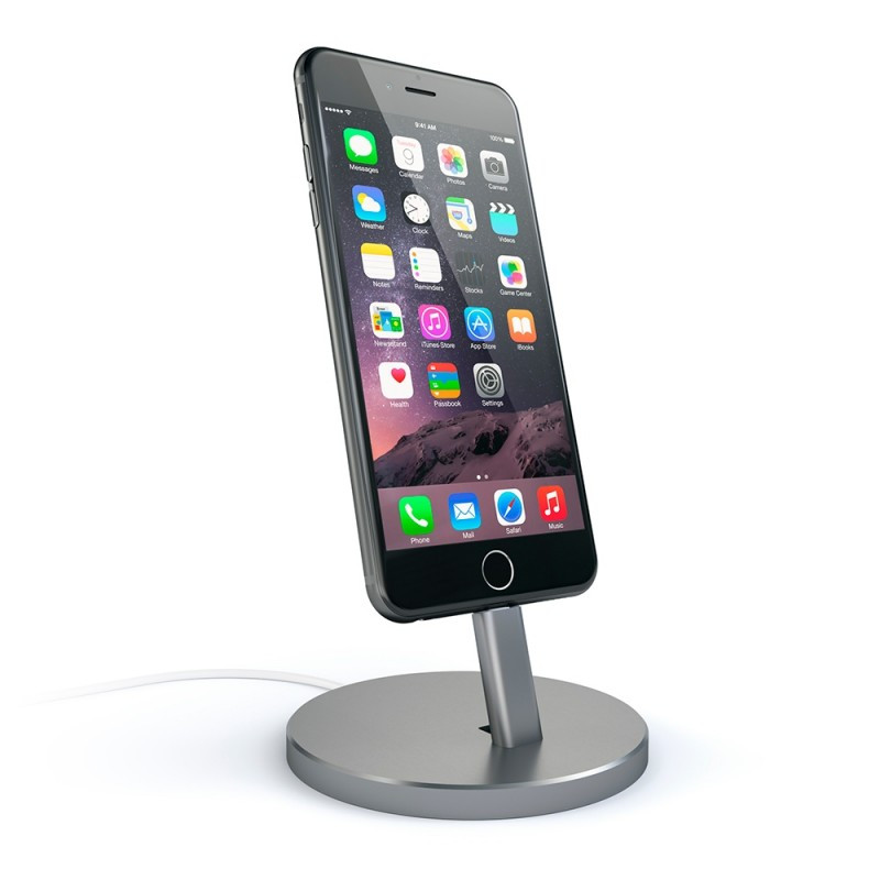 Satechi Aluminum Desktop Charging Stand Space Gray for iPhone