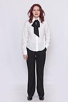 Блуза женская белая  рубашечного кроя, на пуговицах , с длинным рукавом.735-09 DANA