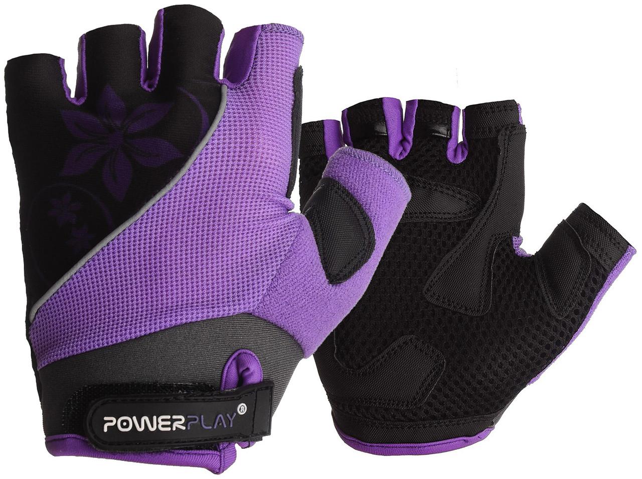 Велорукавички PowerPlay 5281 D Фіолетові M