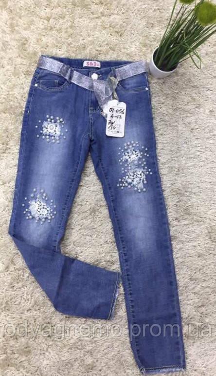 Джинсовые брюки для девочек S&D оптом, 4-12 лет.