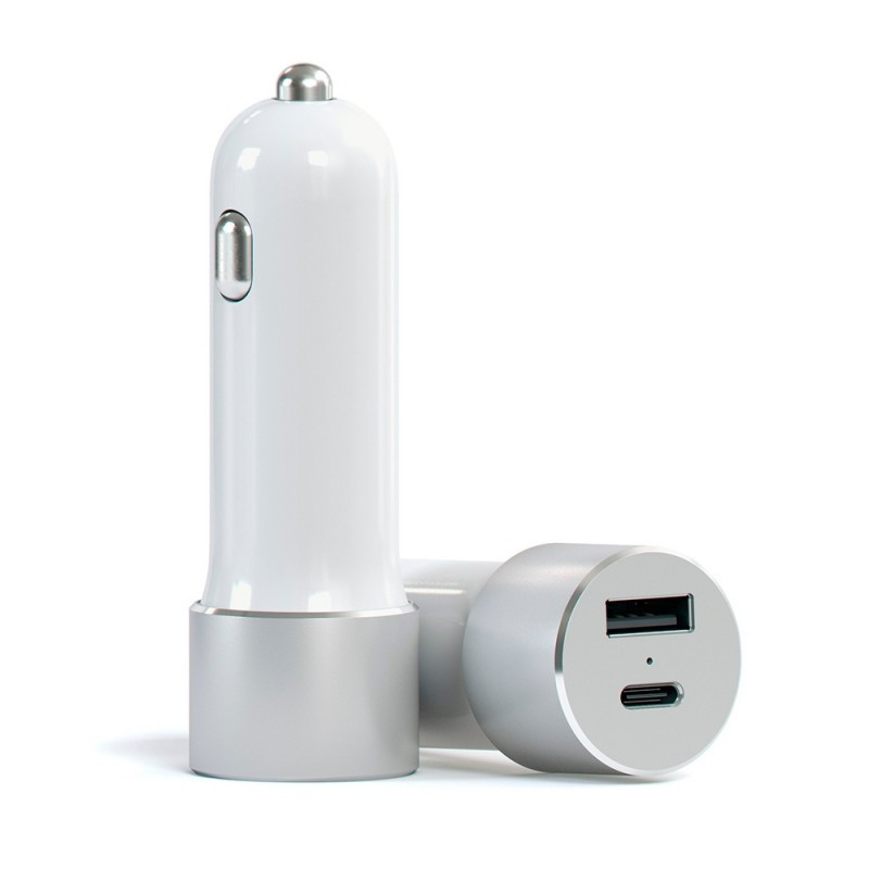 Satechi USB Car Charger with Type C Silver