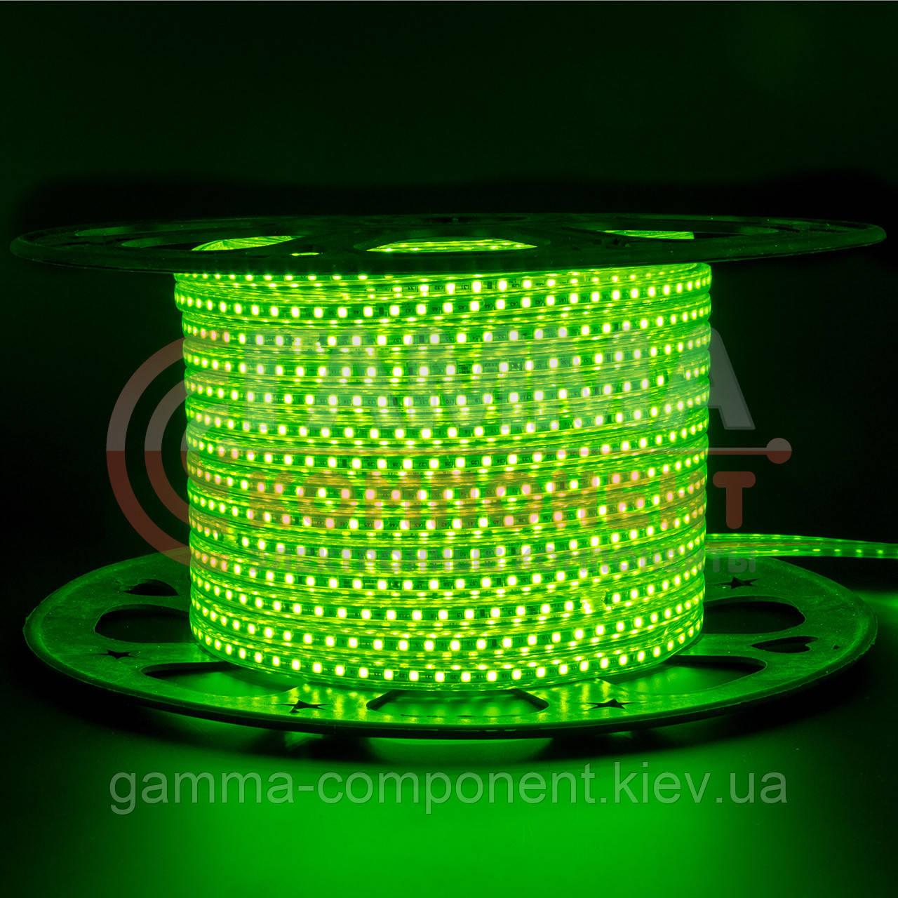 Светодиодная лента 220В зеленая AVT smd 2835-120 лед/м 4Вт/м, герметичная. Бухта 50 метров.