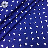 """Польская хлопковая ткань """"сердца белые мелкие на темно-синем"""""""