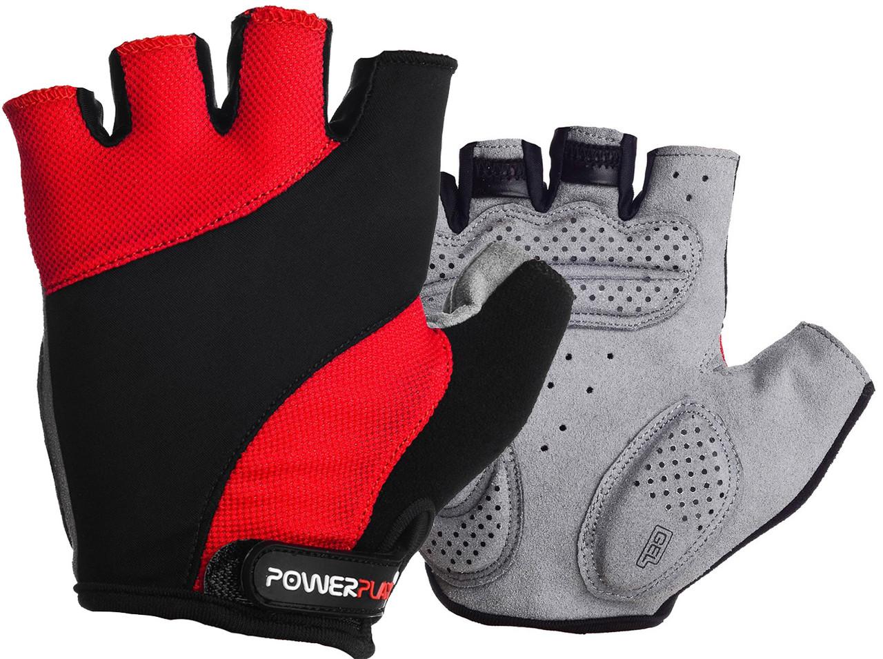 Велоперчатки PowerPlay 5041 D Черно-красные XL