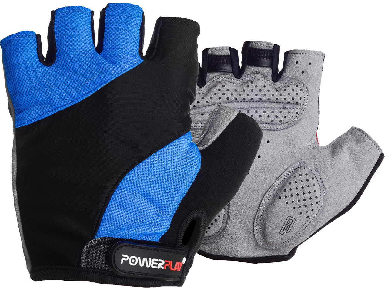 Велорукавички PowerPlay 5041 B Чорно-блакитні XS