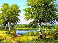 Алмазная вышивка пейзаж, березы, речка, полная выкладка 30х40 см