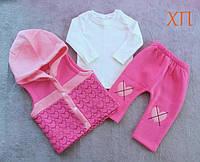 На малышей теплый костюм тройка с начесом трехнитка для девочки с жилеткой Турция на 9 мес., 1 год, фото 1