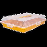 Тортовница прямоугольная с зажимами и ручкой