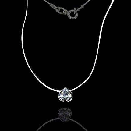 Серебряная подвеска с камнем на силиконе, 360мм, фото 2