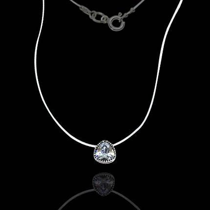 Срібна підвіска з каменем на силіконі, 385мм, фото 2
