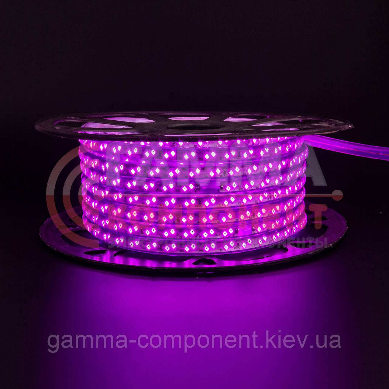 Светодиодная лента 220В розовая smd 2835-120 лед/м 12Вт/м, герметичная