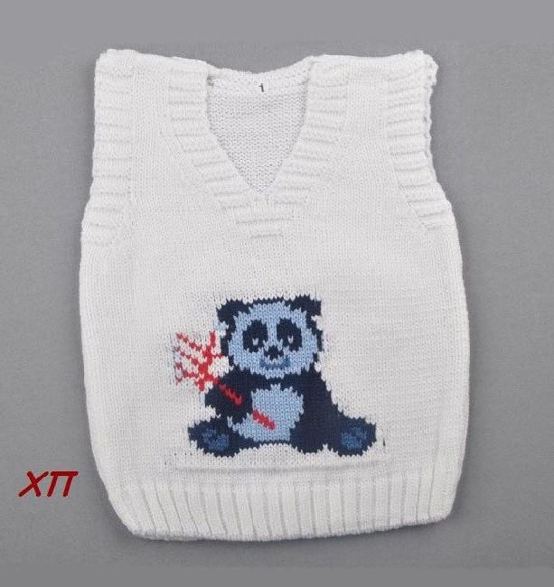 """Детская вязаная жилетка для мальчика (кофта на малыша) """"Панда"""" Турция на 1 год"""