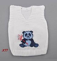 """Детская вязаная жилетка для мальчика (кофта на малыша) """"Панда"""" Турция на 1 год, фото 1"""