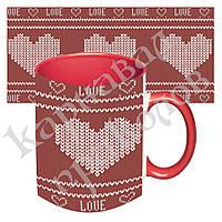Подарочная чашка для влюбленных Вязаное сердце