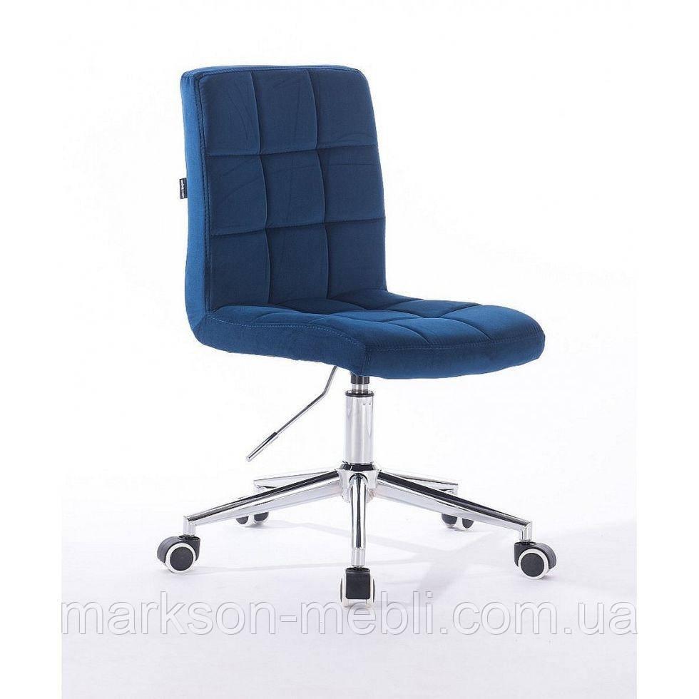 Косметическое кресло HROOVE FORM HR7009K хром синий велюр