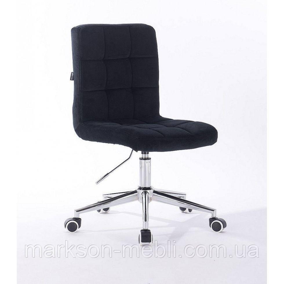 Косметичне крісло HROOVE FORM HR7009K хром чорний велюр