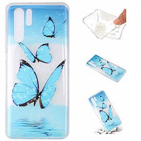 Чехол накладка для Huawei P30 Pro силиконовый, Голубая бабочка над водой