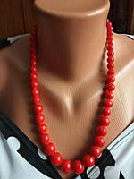 Ожерелье из натуральных камней,красный коралл.