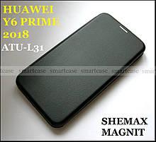 Черный защитный чехол книжка Huawei Y6 Prime 2018 ATU-L31 от Shemax (Хуавей Ю6 Прайм)