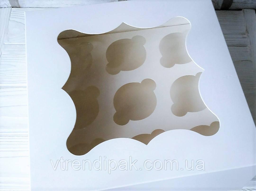 Коробка для 9 кексів, мафінів, капкейків з мелованого картону з вікном 260*260*90