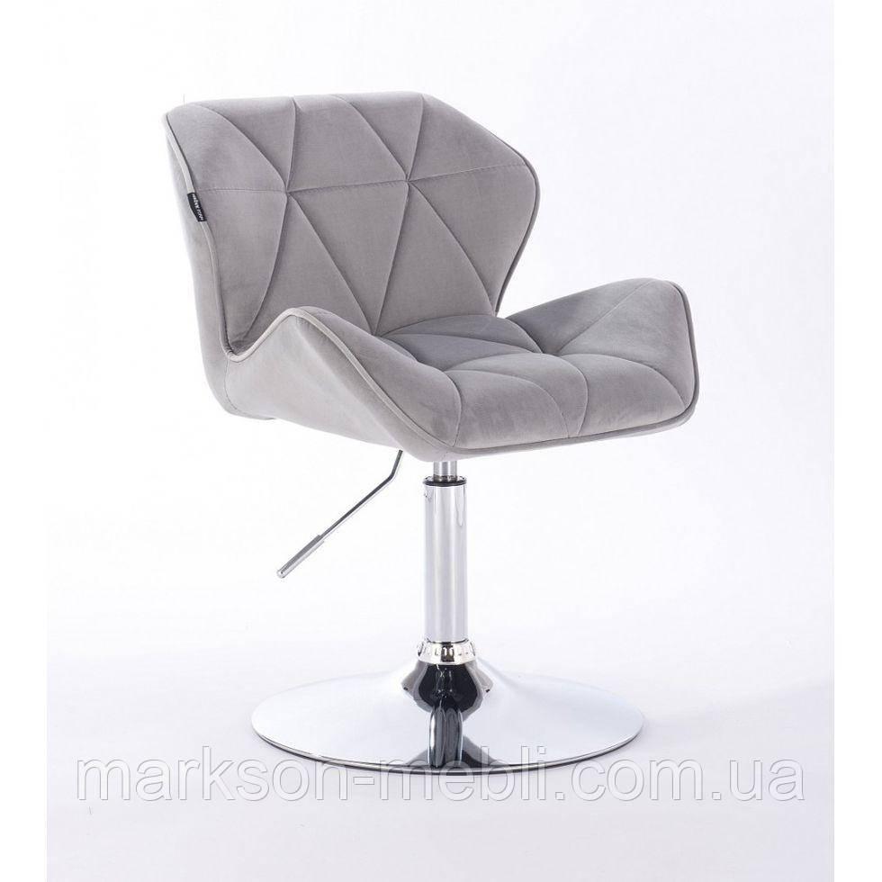 Кресло косметическое HR111N стальной велюр