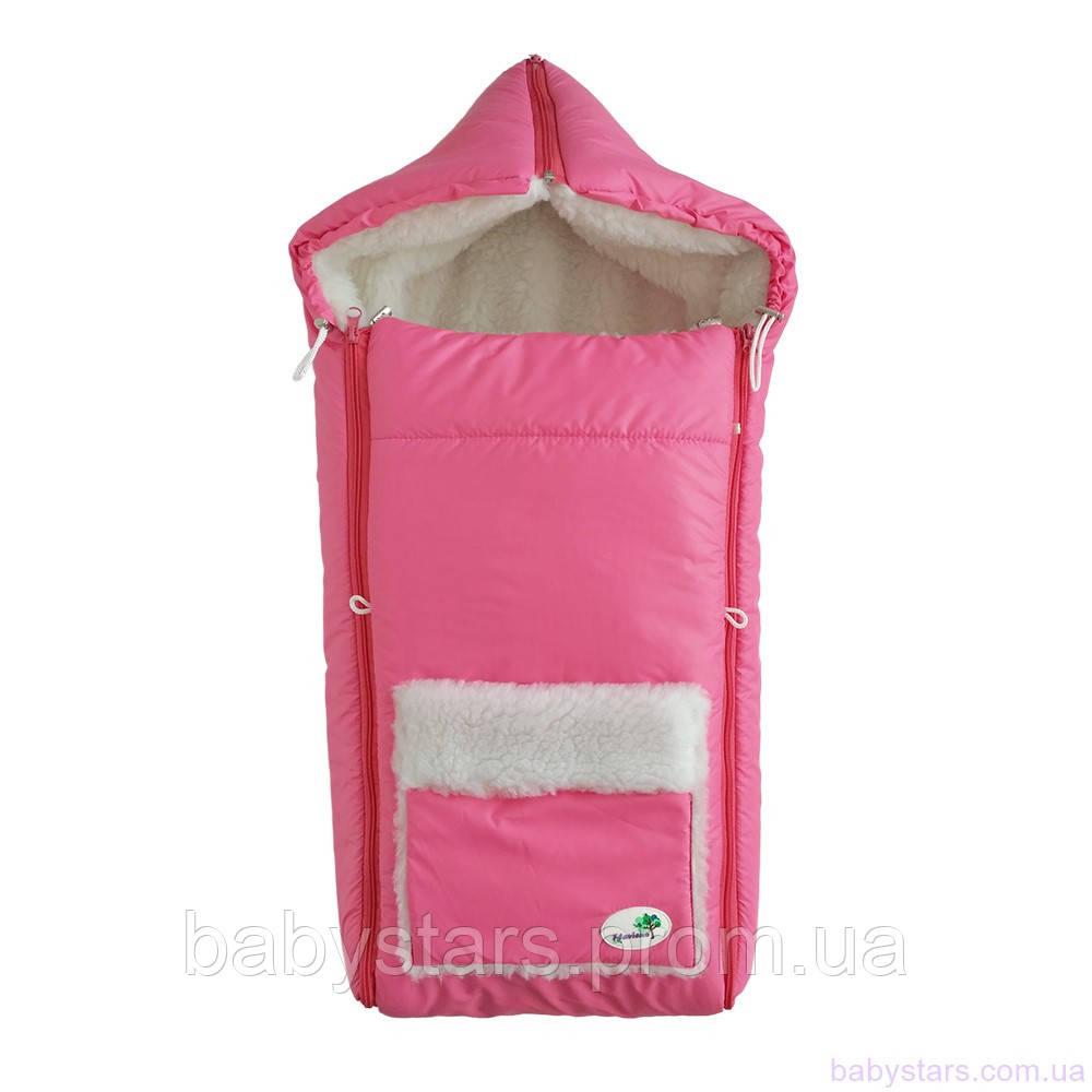 Конверт на овчине для новорожденных зимний, розовый