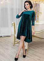 Платье женское асимметричное из велюра