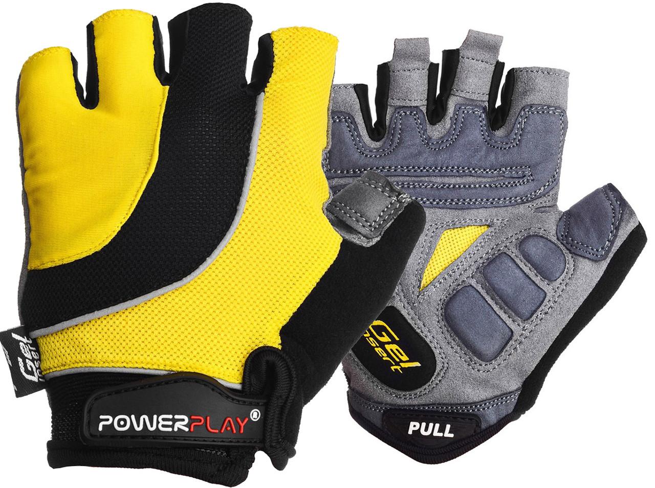 Велорукавички PowerPlay 5037 C Чорно-жовті XL