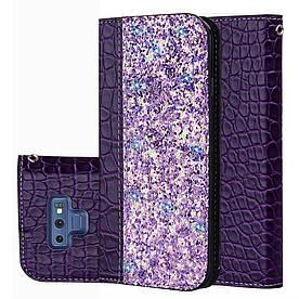 Чехол книжка для Samsung Galaxy Note 9 N960 боковой с отсеком для визиток, Крокодиловая кожа, фиолетовый