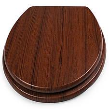 Сиденье для унитаза деревянное, стульчак Comfort Wooden - цвет орех. , фото 3