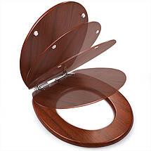 Сиденье для унитаза деревянное, стульчак Comfort Wooden - цвет орех. , фото 2