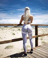 Серые женские леггинсы с принтом, фото 1