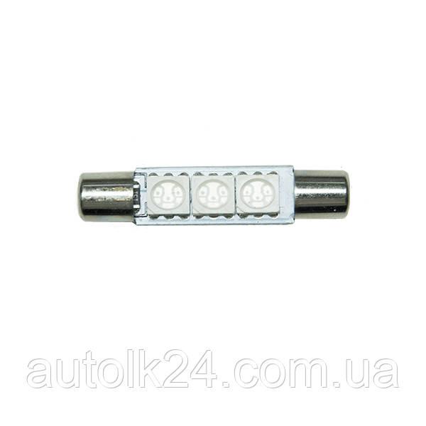 LED лампа C5W  31мм 3 SMD5050 6614F 12V  Цвет синий(Blue)