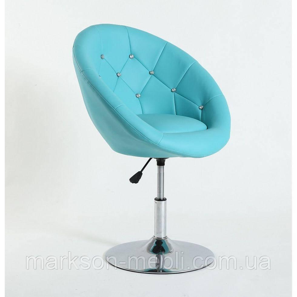 Парикмахерское  кресло HC-8516C бирюзовое со стразами