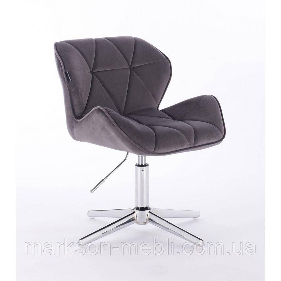 Парикмахерское  кресло HROVE FORM HR111CROSS графитовый велюр