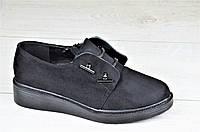 Весенние женские туфли на платформе черные удобные стильные (Код: 1087)