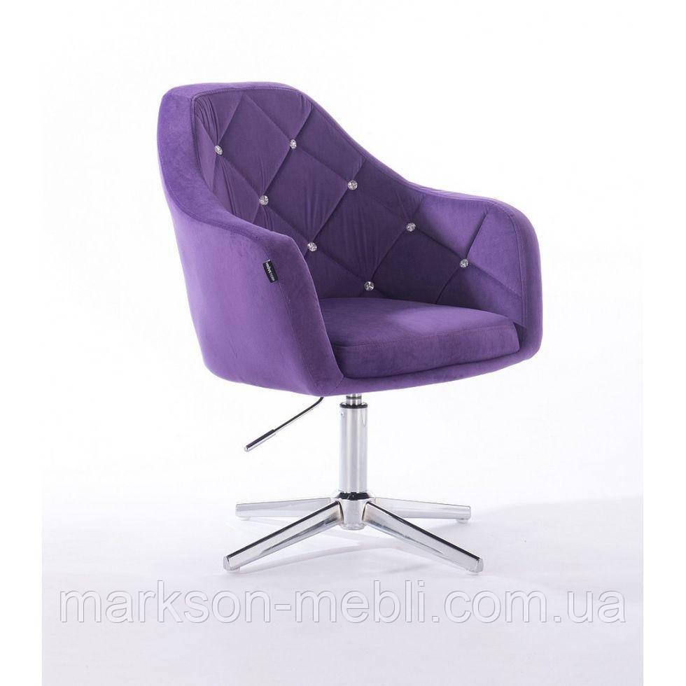 Парикмахерское  кресло HROVE FORM HR830CROSS фиолетовый велюр