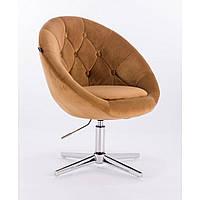 Парикмахерское  кресло HROVE FORM HR8516 медовое велюр, фото 1