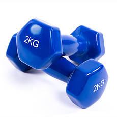 Гантели для фитнеса 2кг, винил, пара