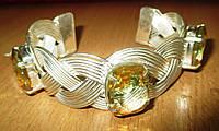 """Жесткий браслет - манжет """"Косичка"""" с турмалиновым кварцем, фото 1"""