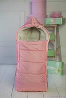 Конверт из овчины для новорожденных, нежно-розовый