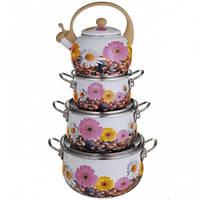 Набор кастрюль 3 кастрюли и чайник 2,2 л - Эмаль ( 3472 BM )